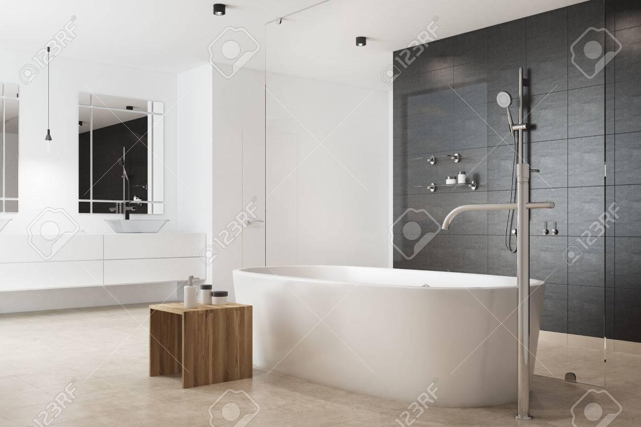 Schwarzes Badezimmer Interieur Mit Einer Weissen Wand Eine Weisse