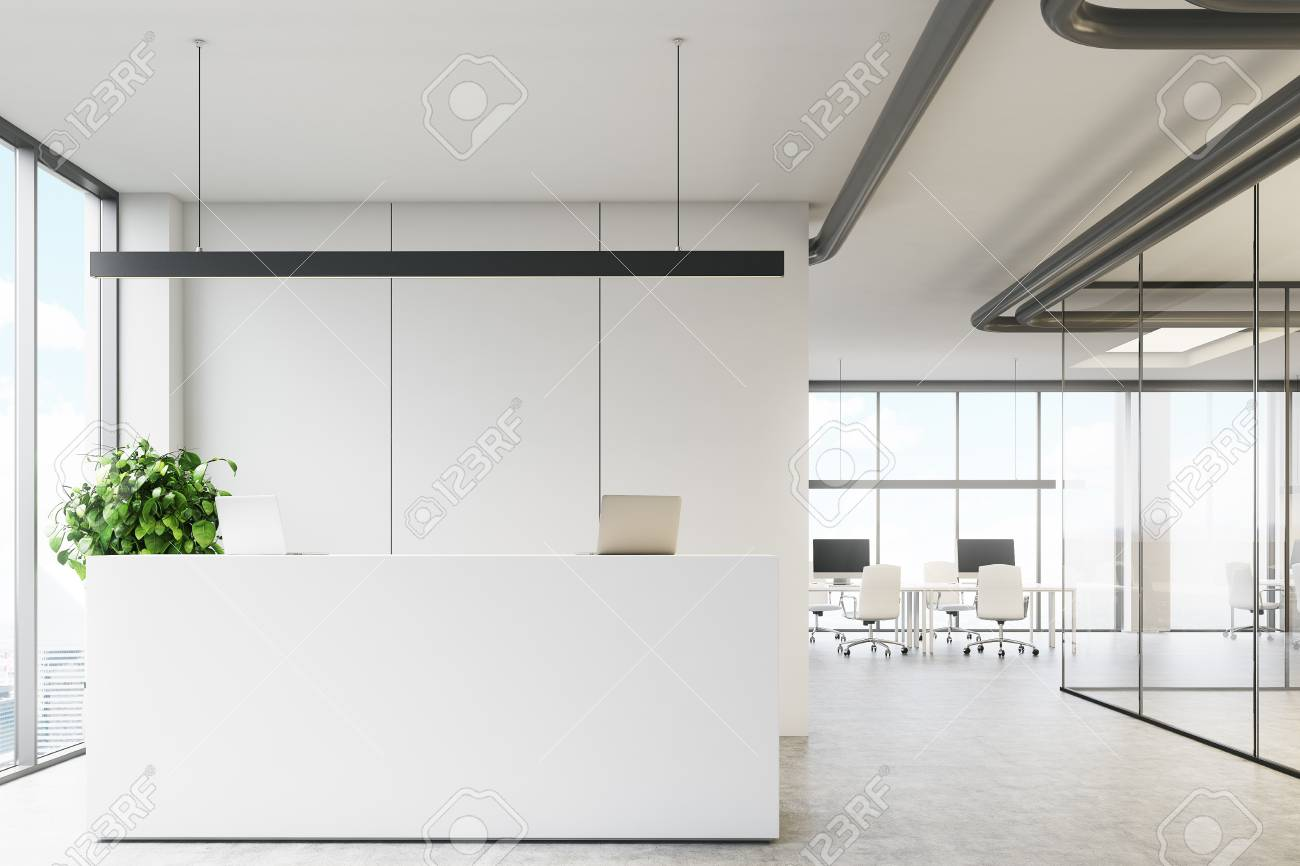 office reception interior. Stock Photo - White Office Interior With A Reception Desk Standing Near Loft Window In An Lobby Glass Walls And Meeting Room. R