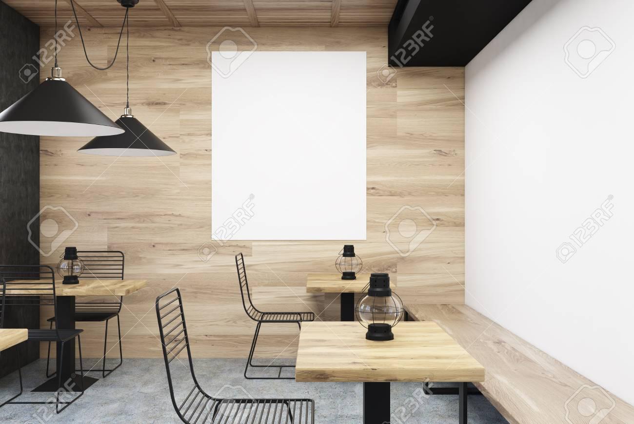 Interiore Di Legno E Bianco Del Caffè Della Parete Con Le Vecchie ...