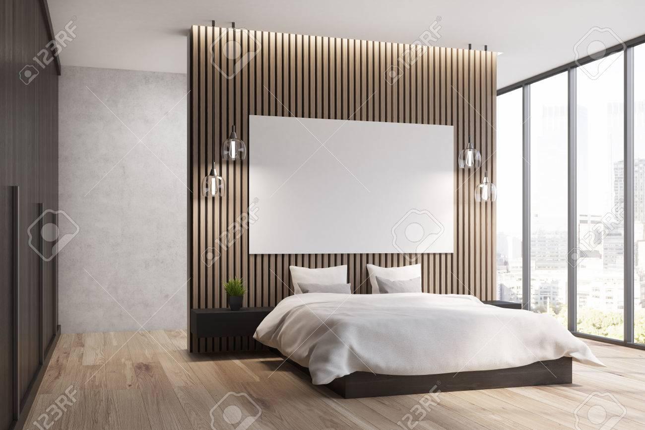Chambre En Bois Dans Une Mezzanine Avec Une Fenêtre Panoramique Et ...