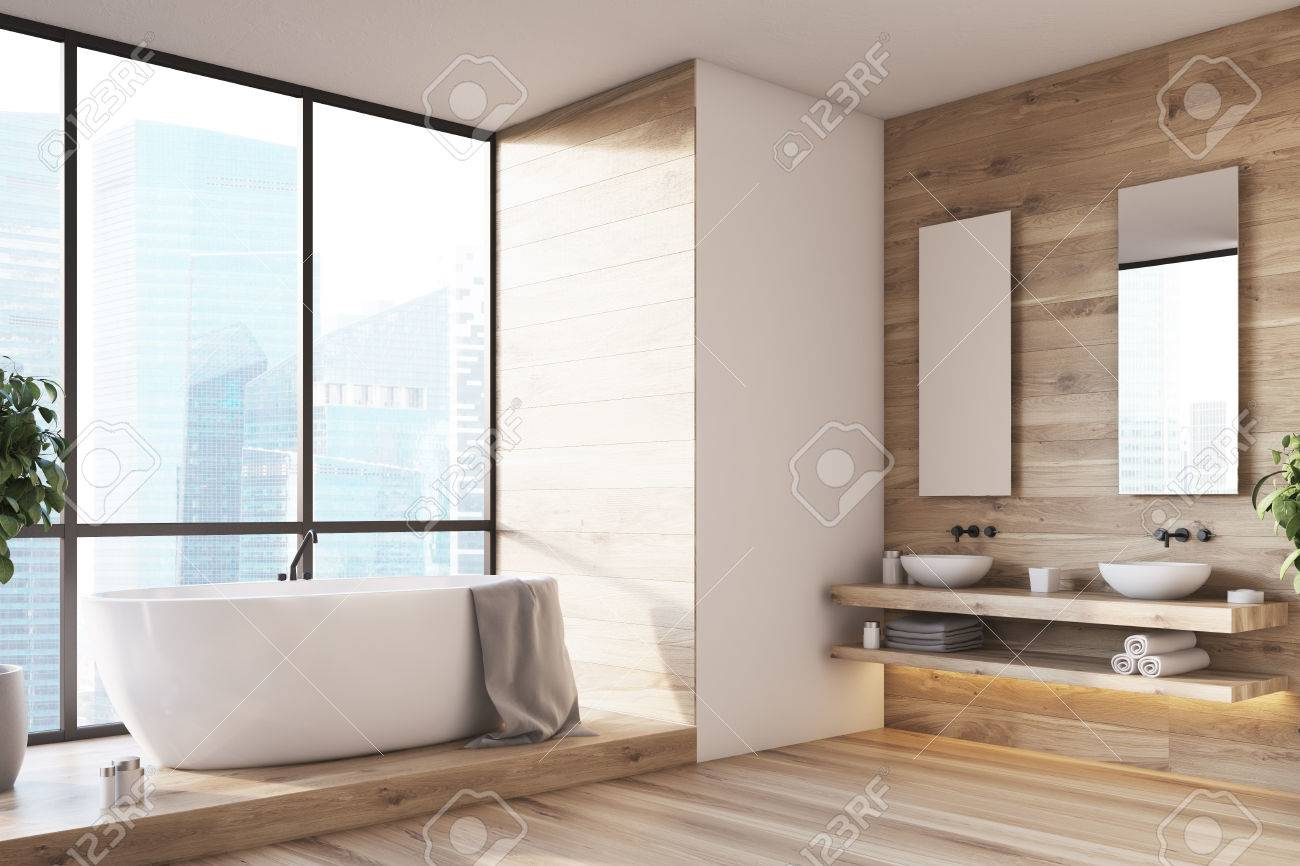 Stock photo wooden bathroom interior with a white tub double sinks and mirrors and a tree in a pot side view 3d rendering mock up