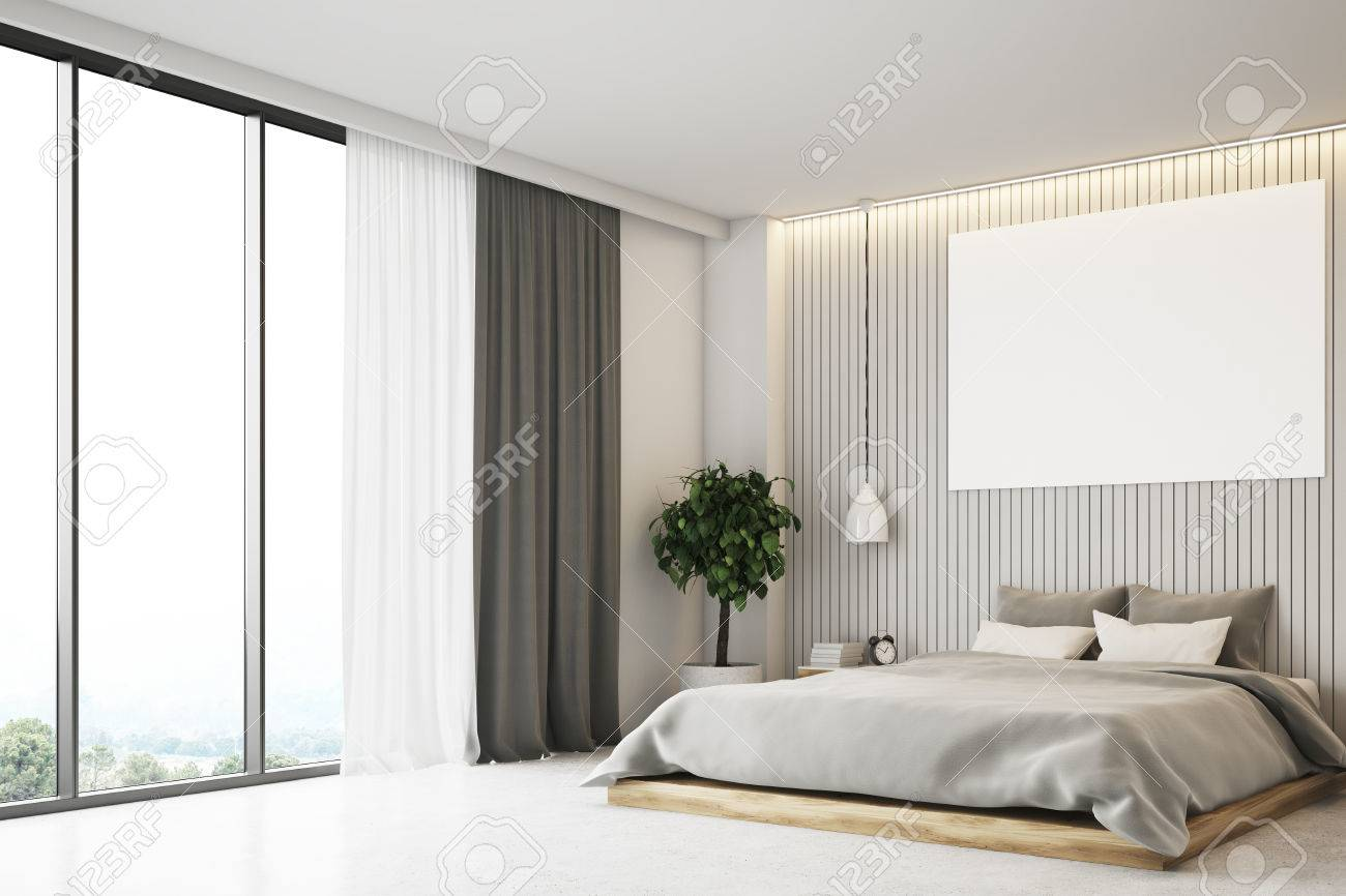 Luxury Bedroom Interior With A Plank Beige Walls, Curtains, A ...