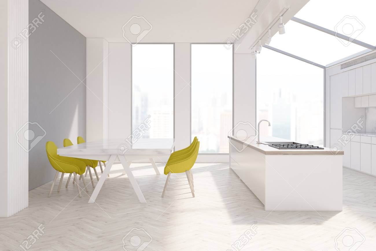 Gray Kitchen Interior With Narrow Tall Windows, A Long Marble ...