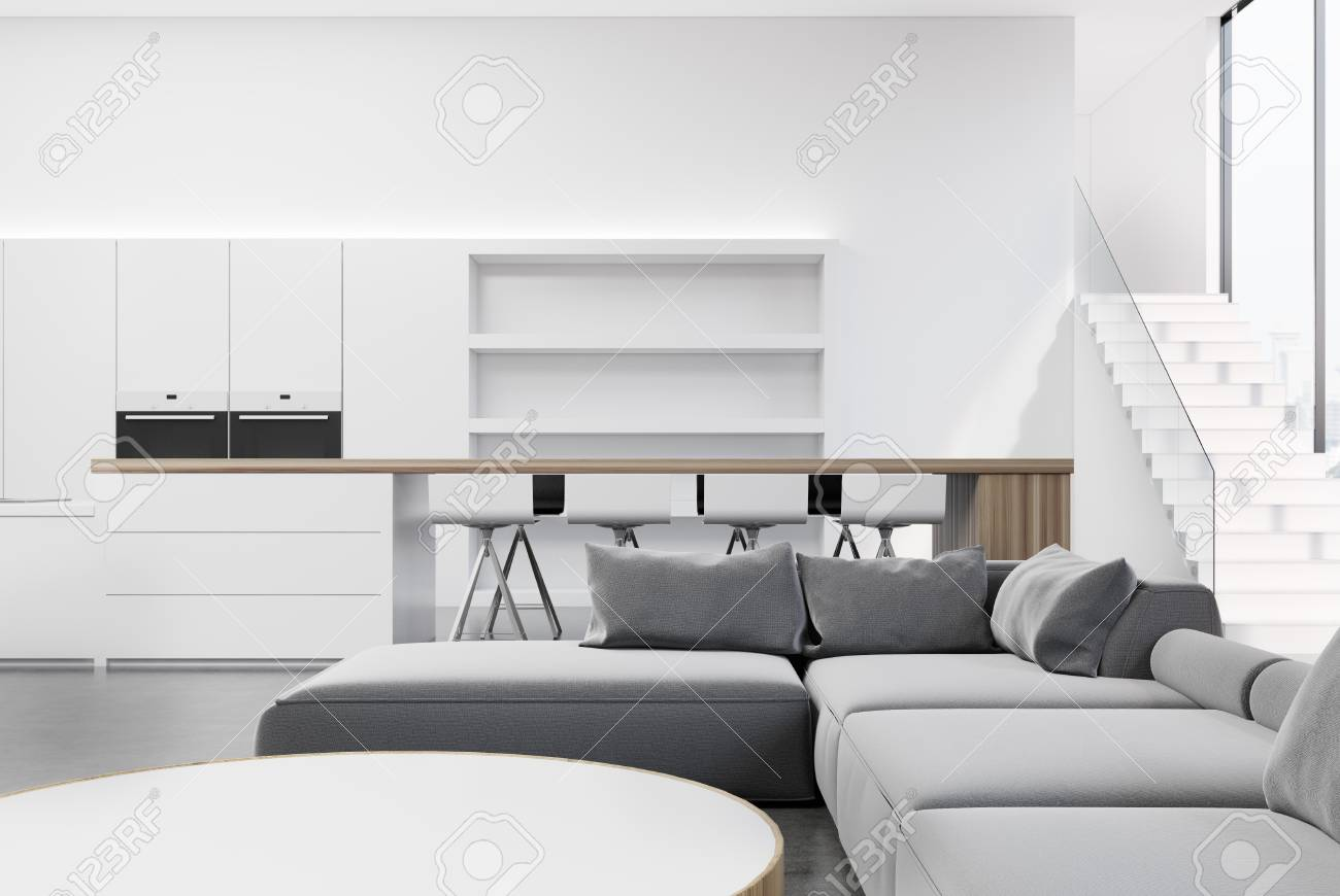 Pleasing White Living Room Interior With A Kitchen Corner A Round Table Machost Co Dining Chair Design Ideas Machostcouk