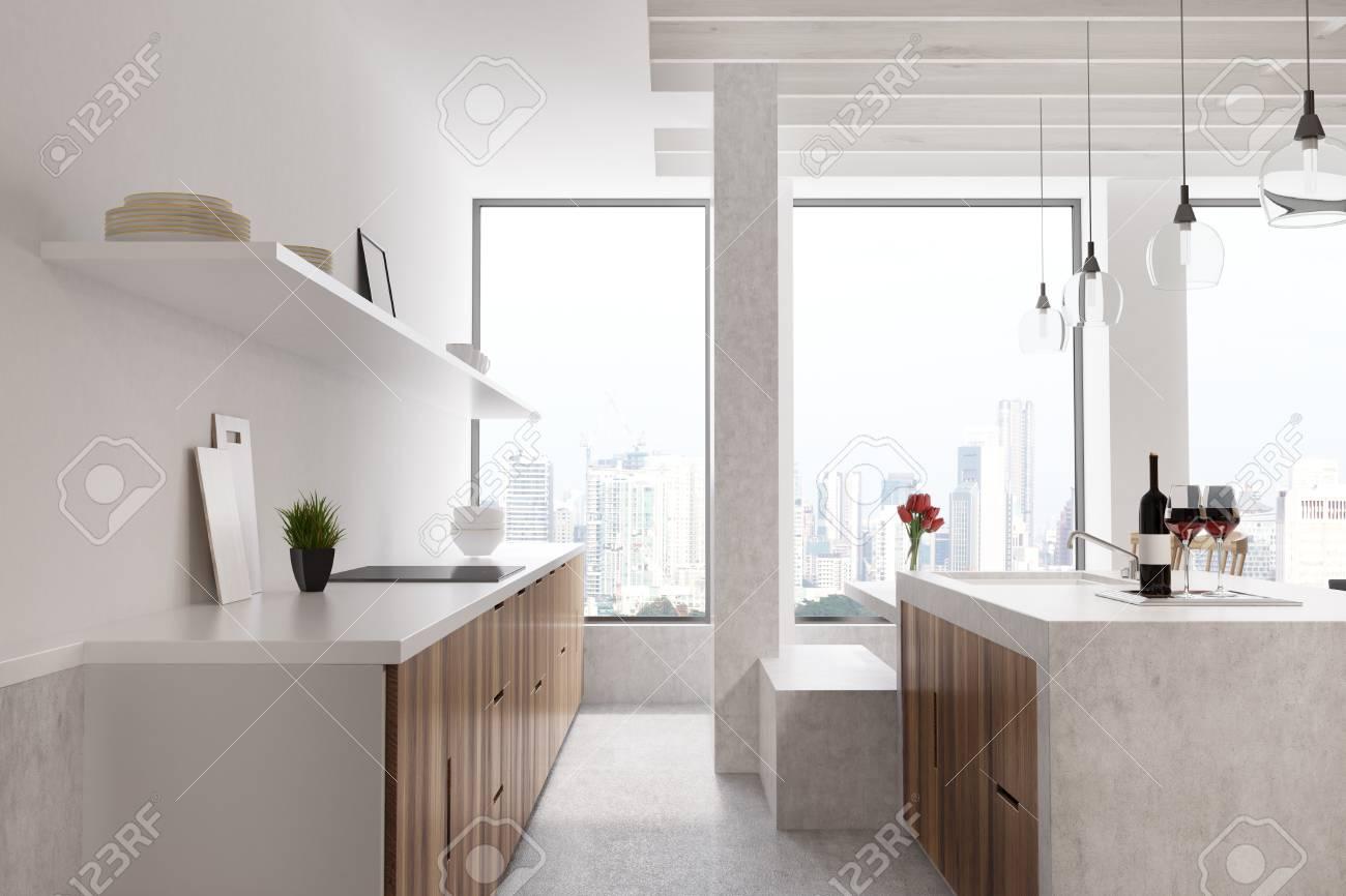 Columna Cocina   Barra De Marmol En Una Cocina Blanca Con Gabinetes De Madera Una
