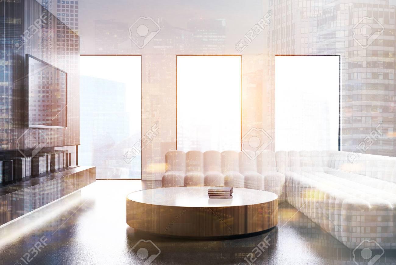 White Living Room Interior With Loft Windows, A Bookshelf And ...