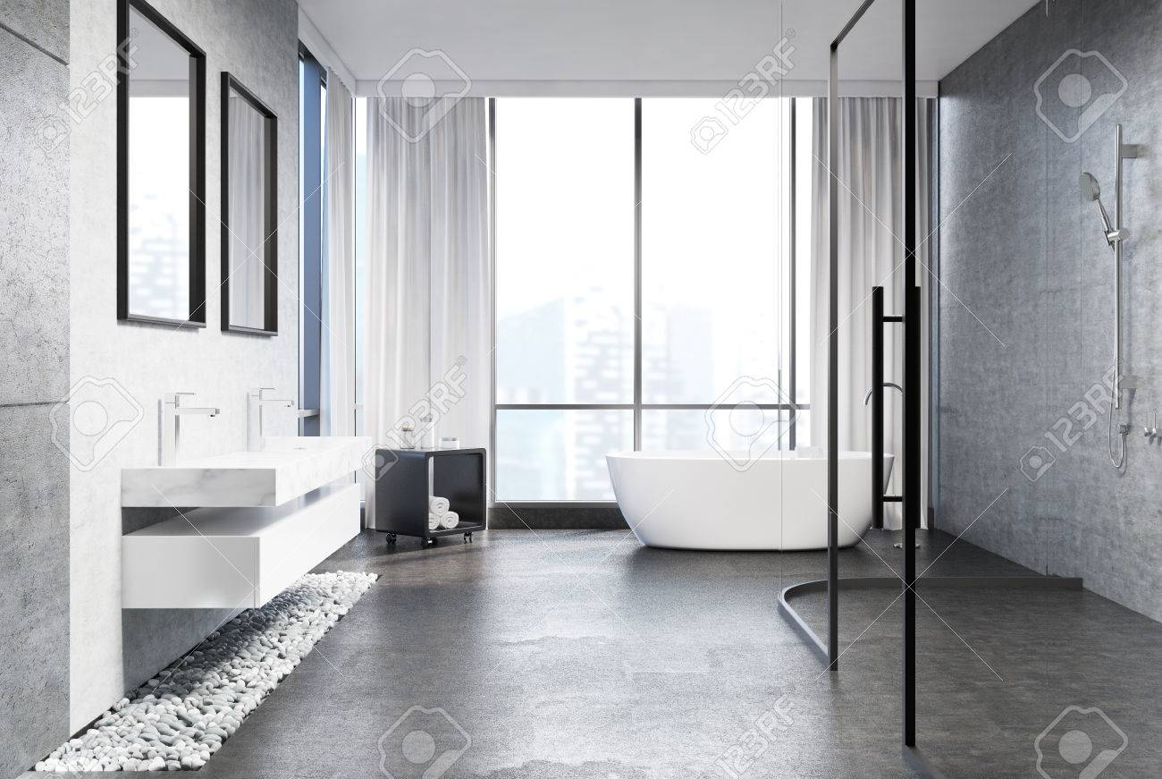 Gray Concrete Bathroom Interior With A Gray Concrete Floor, Rubble Under  Two Marble Sinks,