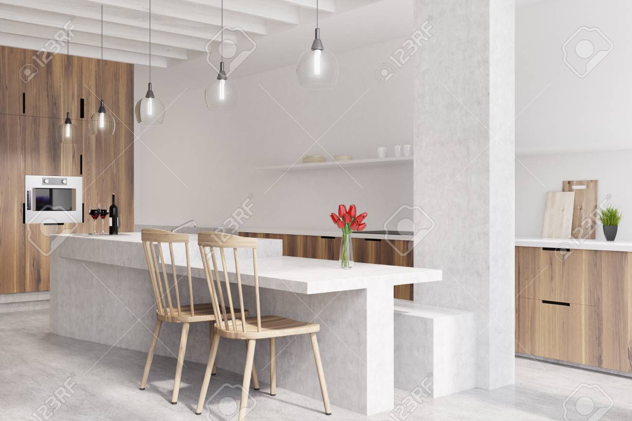 Marble Bar In A White Kitchen With Wooden Cabinets Two Chairs Stock Photo Picture And Royalty Free Image Image 82057319