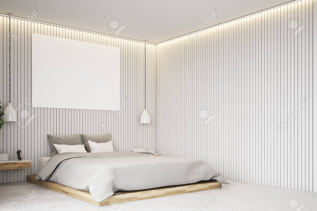 Luxury Bedroom Interior With A Plank Beige Walls, Curtains, A Double Bed  With Two