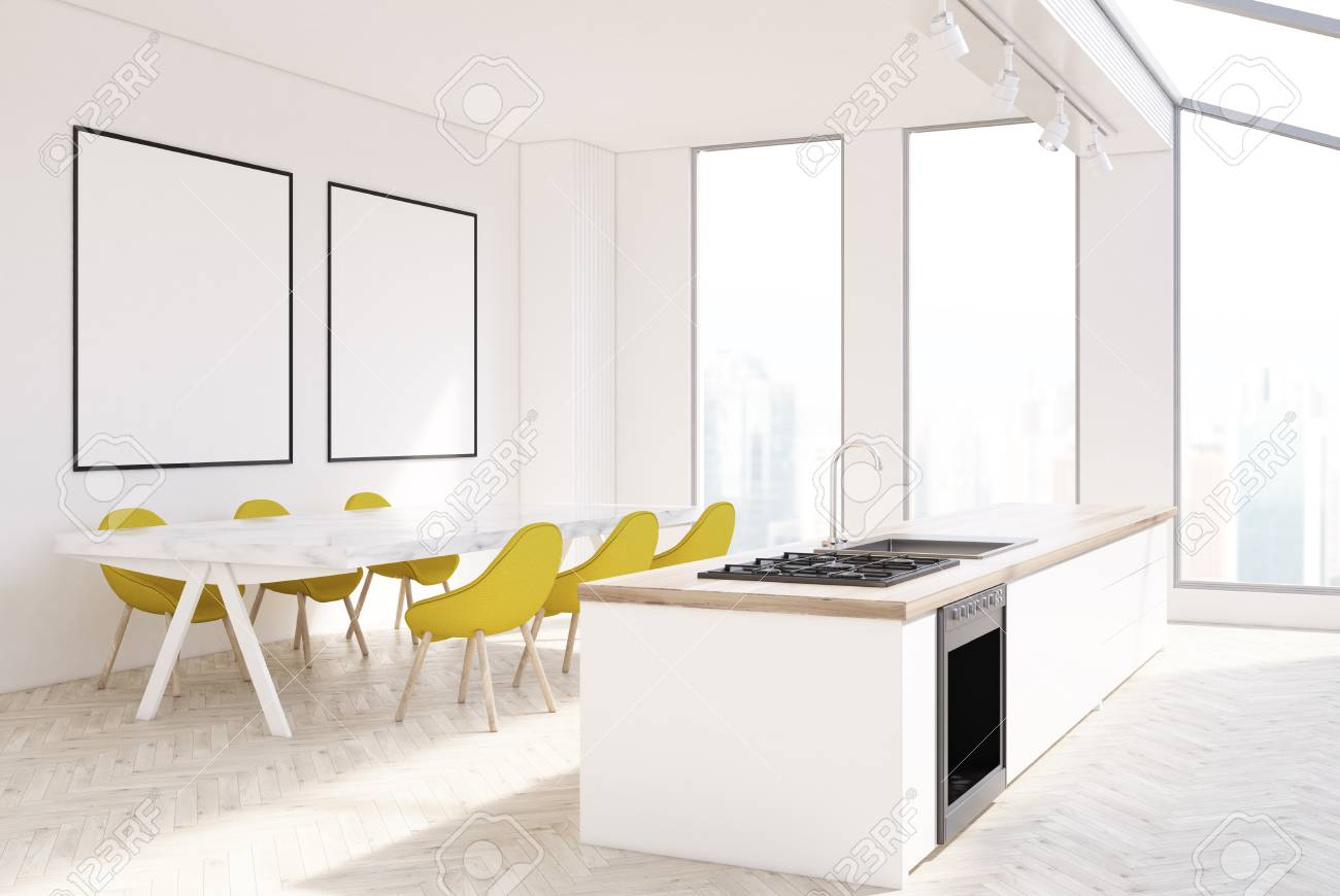 White Kitchen Interior With Narrow Tall Windows, A Long Marble ...