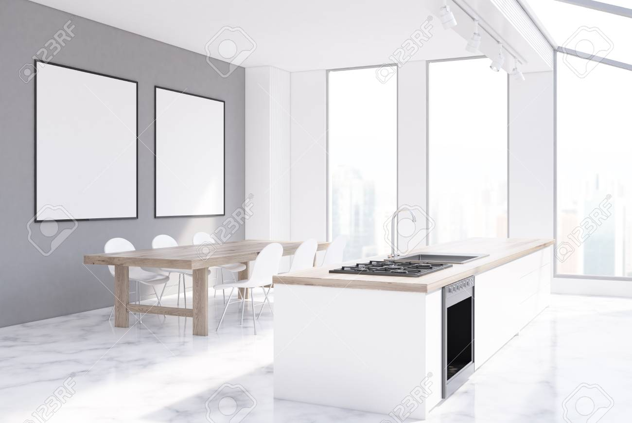 Exceptionnel Gray Kitchen Interior With Narrow Tall Windows, A Long Marble Table, Two  Rows Of