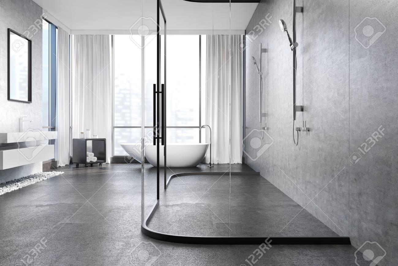 Gray Concrete Bathroom Interior With A Gray Concrete Floor, Rubble ...