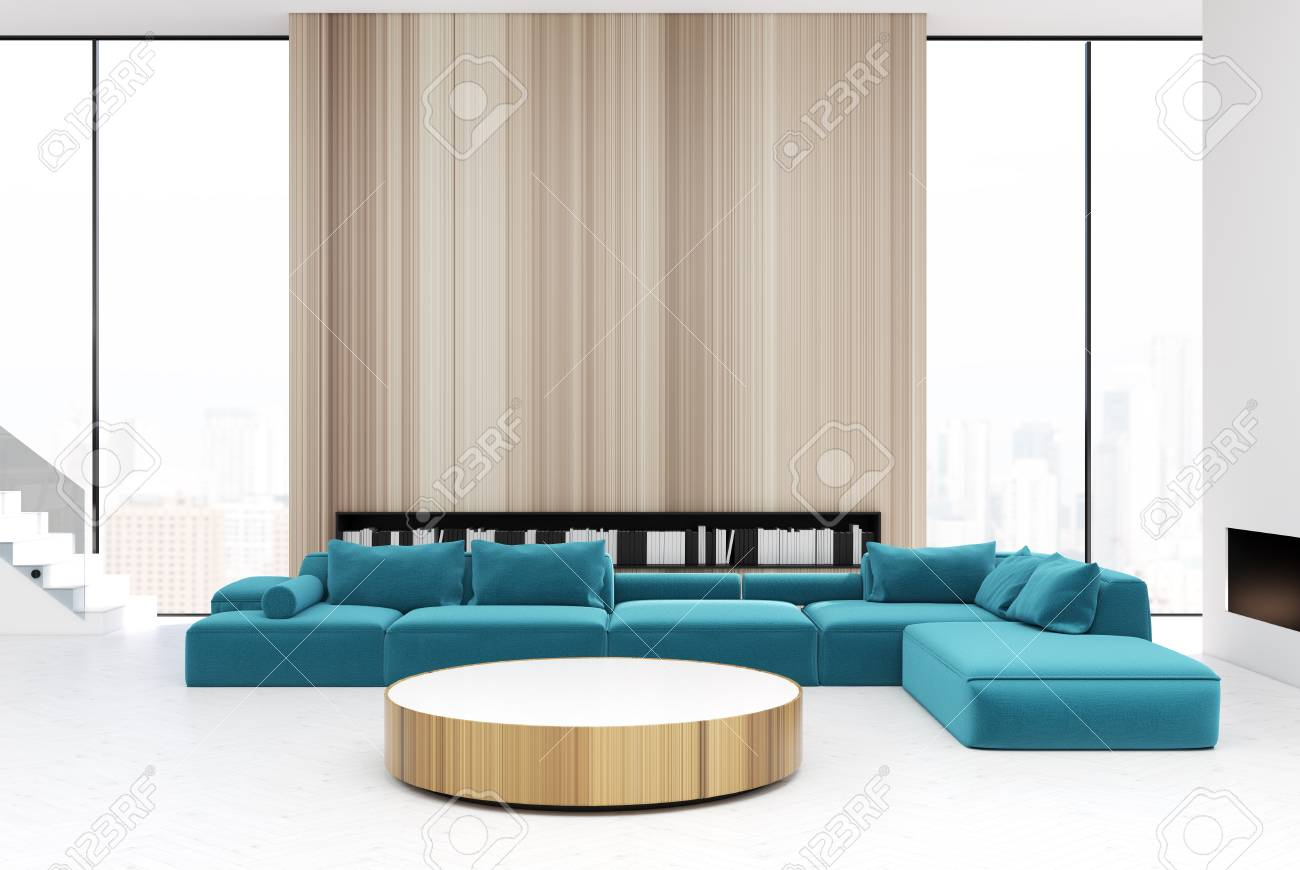 White and wooden living room interior with a round table, blue..