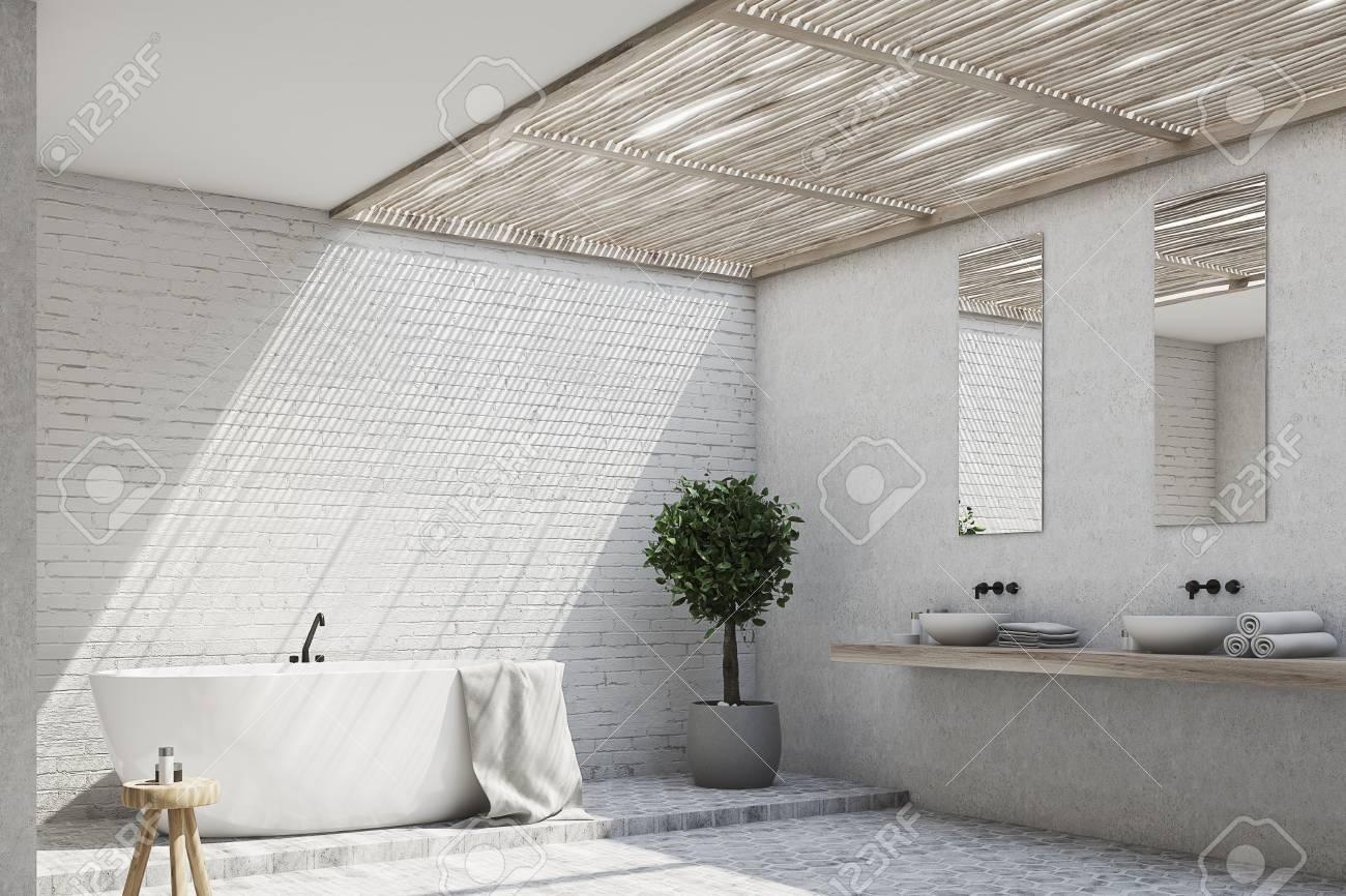 Salle De Bain Brique intérieur de la salle de bain en brique avec une baignoire, un double  lavabo, un arbre dans un pot et deux miroirs sur le mur. coin. maquette 3d