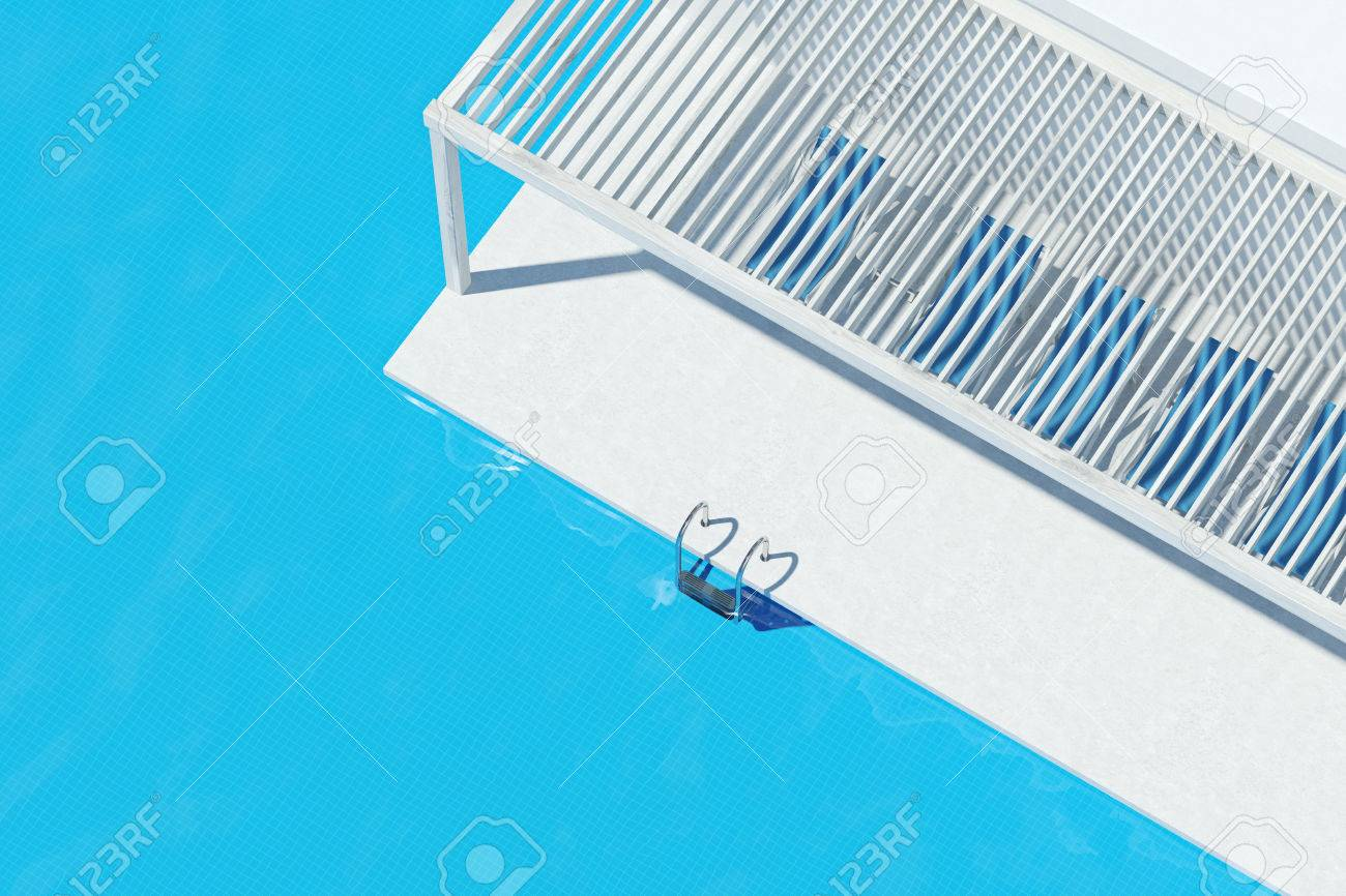 Top View Of A Swimming Pool With Ladder White Floor Blue