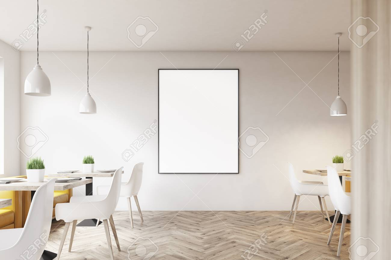 White Cafe Interior With Wooden Floor Square Marble Tables Stock Photo Picture And Royalty Free Image Image 82749410