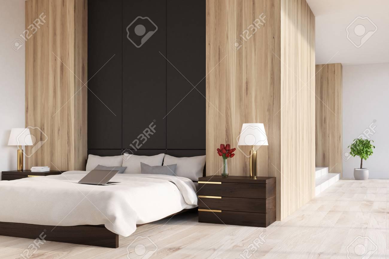 Intérieur De Chambre à Coucher En Bois Avec Un Fragment De Mur Noir ...