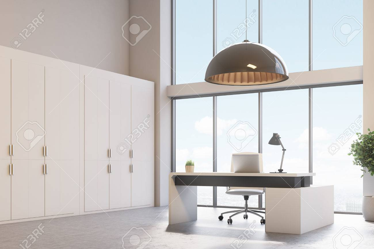 Loft ceo office with a modern interior computer table standing