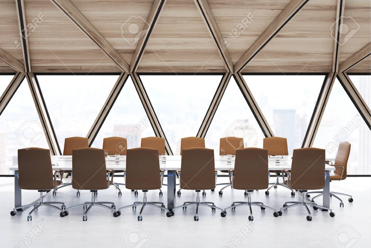 View Of A Conference Room Table With Beige Chairs Standing Near - Standing conference room table