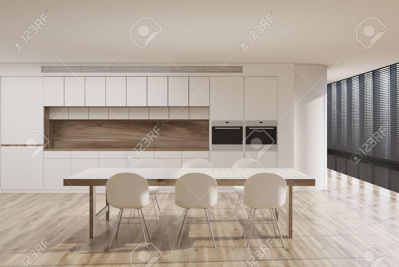 Interno Bianco Cucina Con Finestra Panoramica, Tonalità, Un Lungo ...