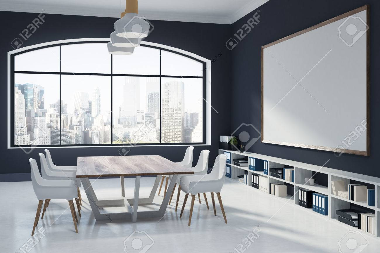 Black Conference Room Interior With A Large Window A Whiteboard - Whiteboard conference table