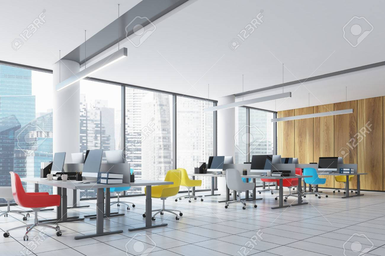 open office architecture images space. Stock Photo - Wooden Wall Open Space Office Interior With Panoramic Windows, Columns, Colored Chairs And Rows Of Tables Computer Monitors On Them. Architecture Images