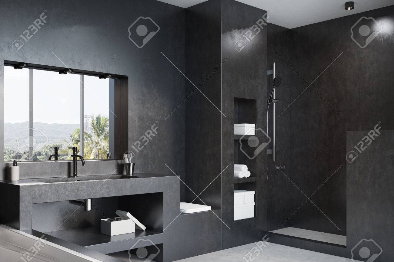 Schwarzes Badezimmer Interieur Mit Einer Weissen Wanne Eine Massive