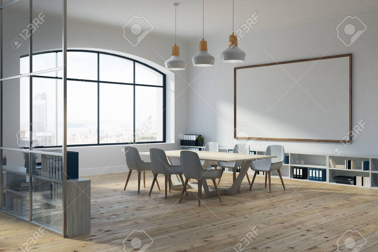 White Conference Room Interior With A Large Window A Whiteboard - Whiteboard conference table