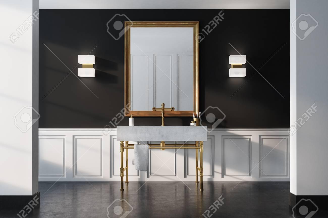 Intérieur de salle de bain vintage avec lavabo blanc, pieds en or, miroir  encadré et mur noir. Concept de luxe et de richesse. Rendu 3d maquette