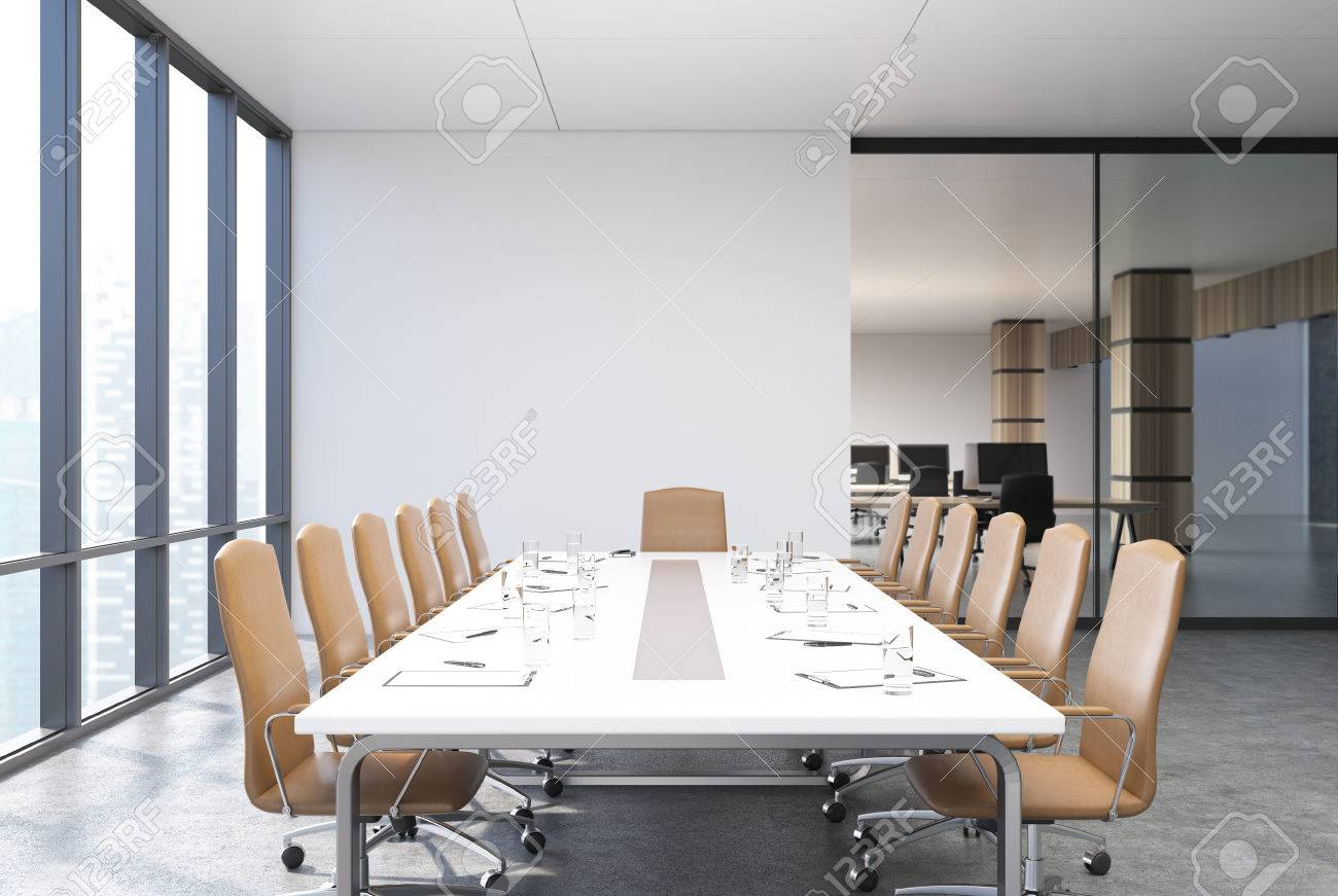 View Of A Conference Room Table With Beige Chairs Standing Near - Stand up conference table