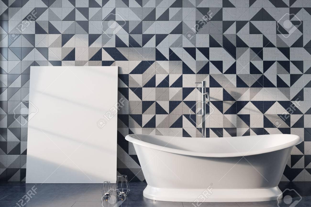 Vintage Bathroom Interior With A White Bathtub A Gold Shower