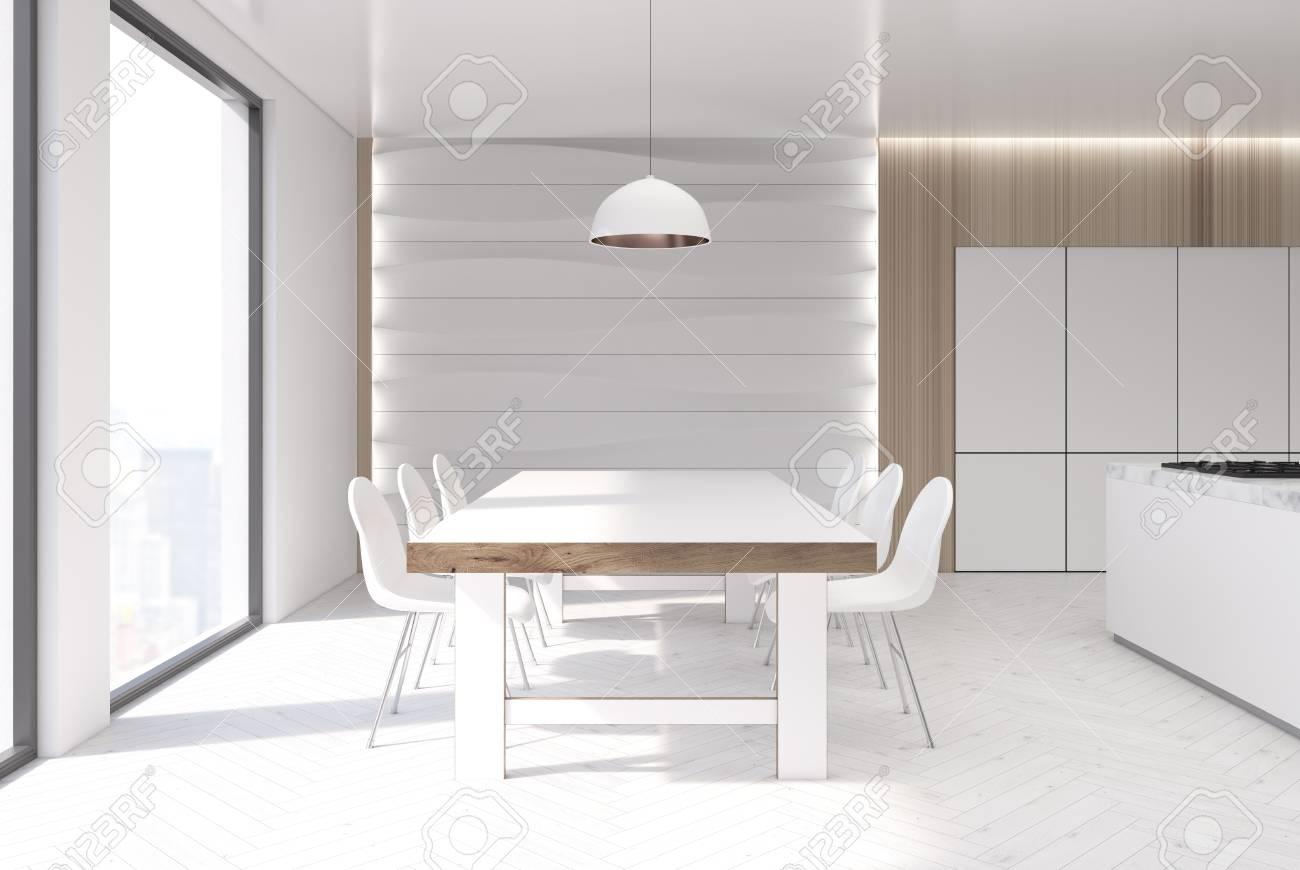 intérieur de cuisine blanc et bois avec un élément de décoration