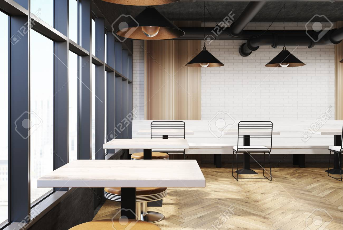White Cafe Interior With A Wooden Bench Square Tables And Metal