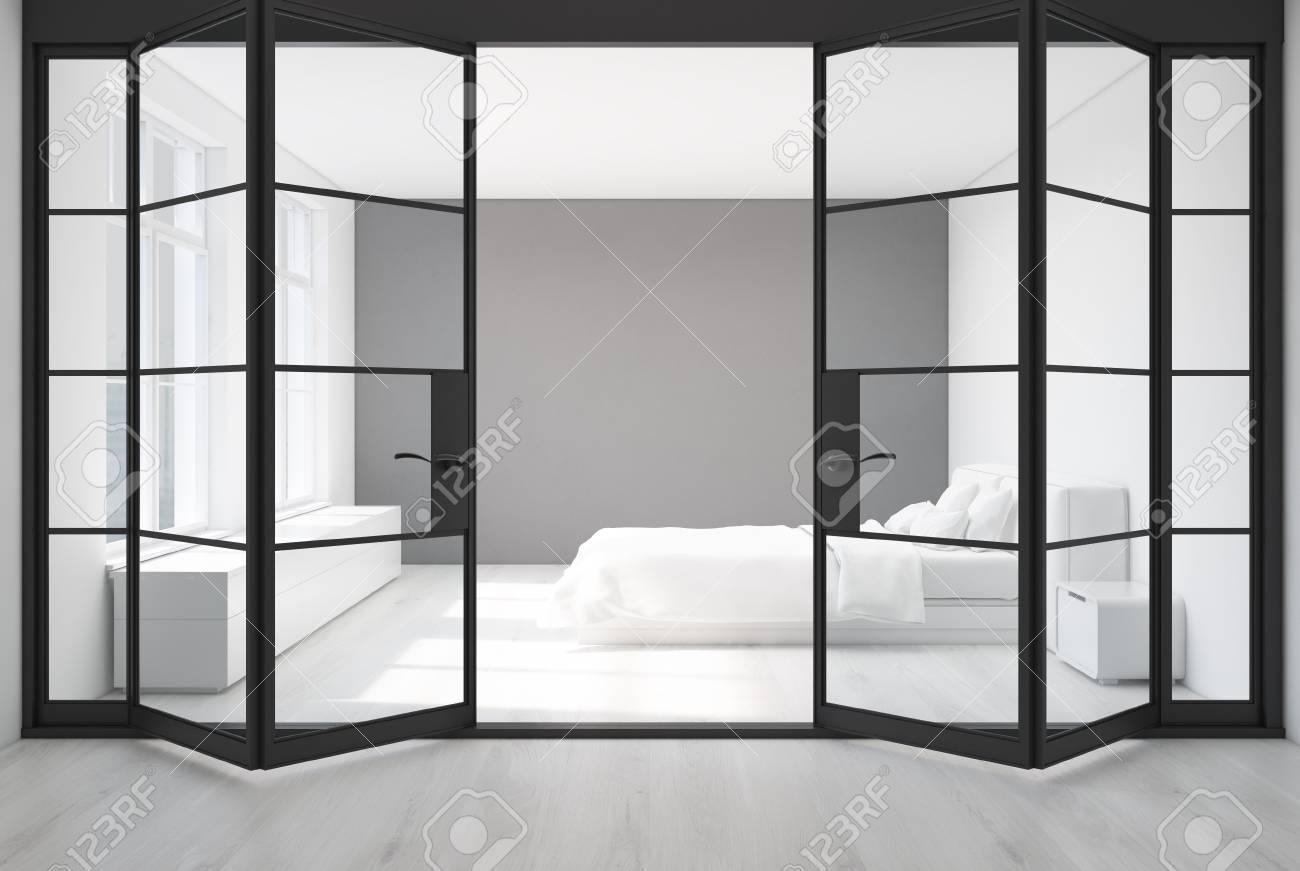 Weisses Schlafzimmer Mit Einem Weissen Boden Und Einer Weissen Und