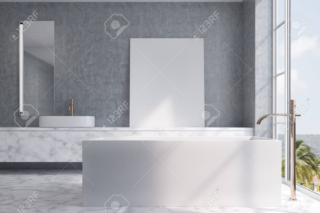 Loft bathroom interior with a tiled floor and concrete walls and a loft bathroom interior with a tiled floor and concrete walls and a white bathtub with a dailygadgetfo Image collections