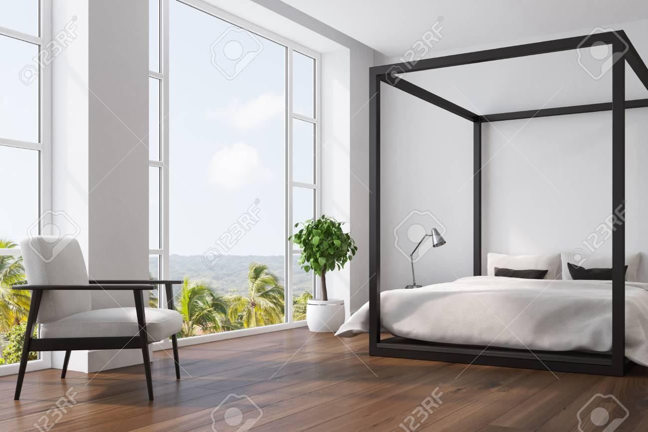Weisser Schlafzimmerinnenraum Mit Einem Doppelten Bett Einem Weissen