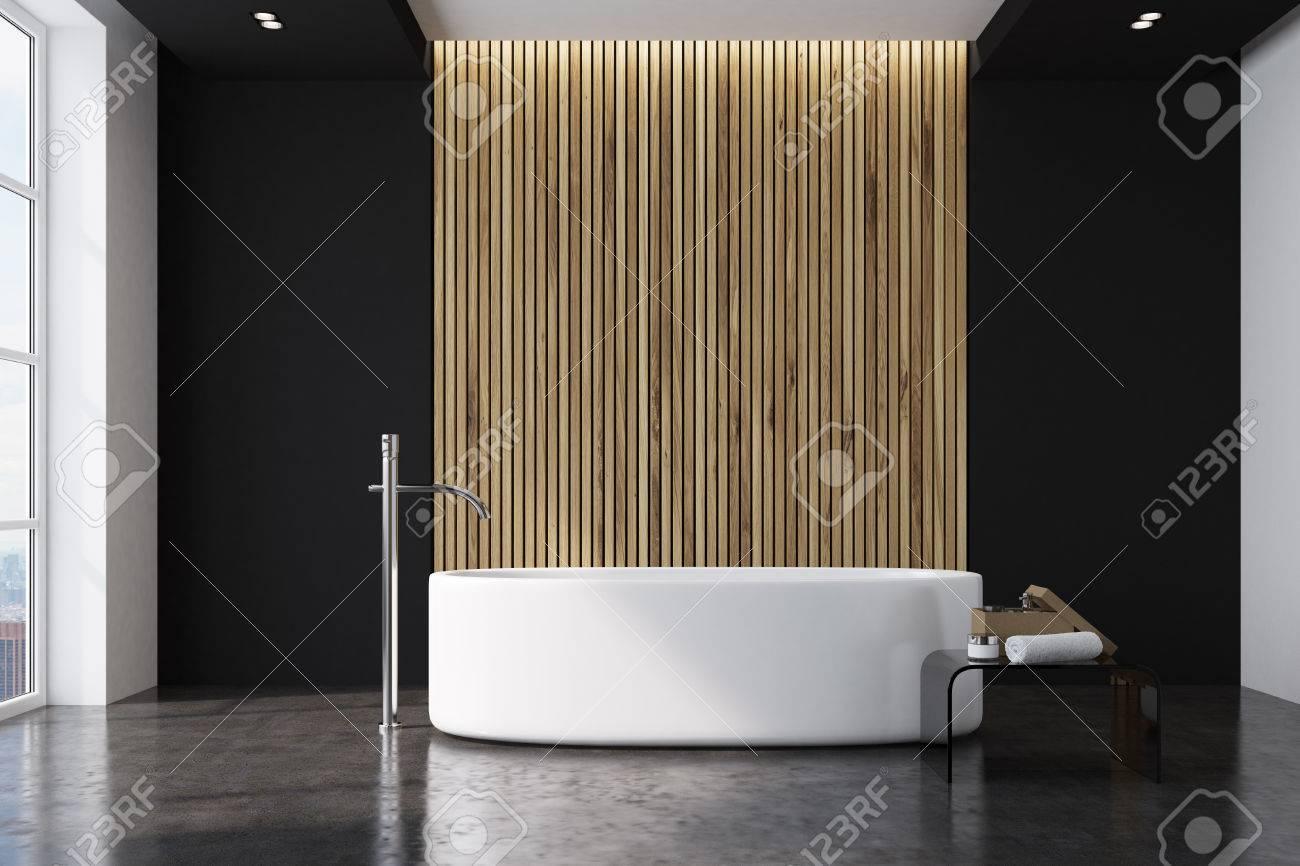 Salle de bains: Salle De Bain Bois Et Marbre Noir
