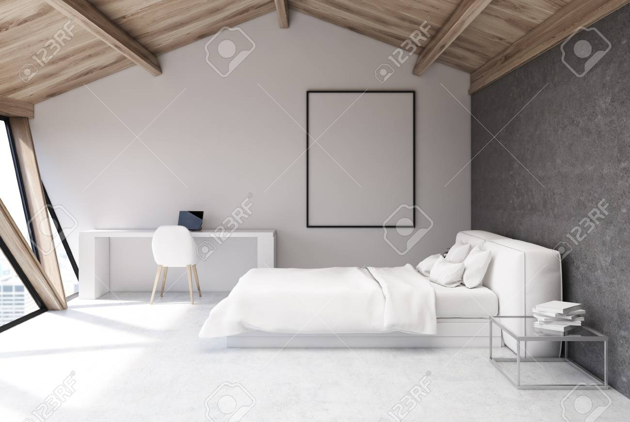 AuBergewohnlich Weißes Schlafzimmer Im Dachgeschoss Mit Einer Holzdecke, Einem Weißen Boden  Und Einer Weißen Und Einer Grauen Wand, Einem Großen Fenster Und Einem Bett  Mit ...