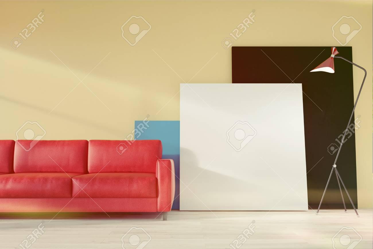 Gelber Wohnzimmer  Oder Und Bürowarterauminnenraum Mit Einem Roten Sofa,  Einem Eingemachten Baum Und Einigen