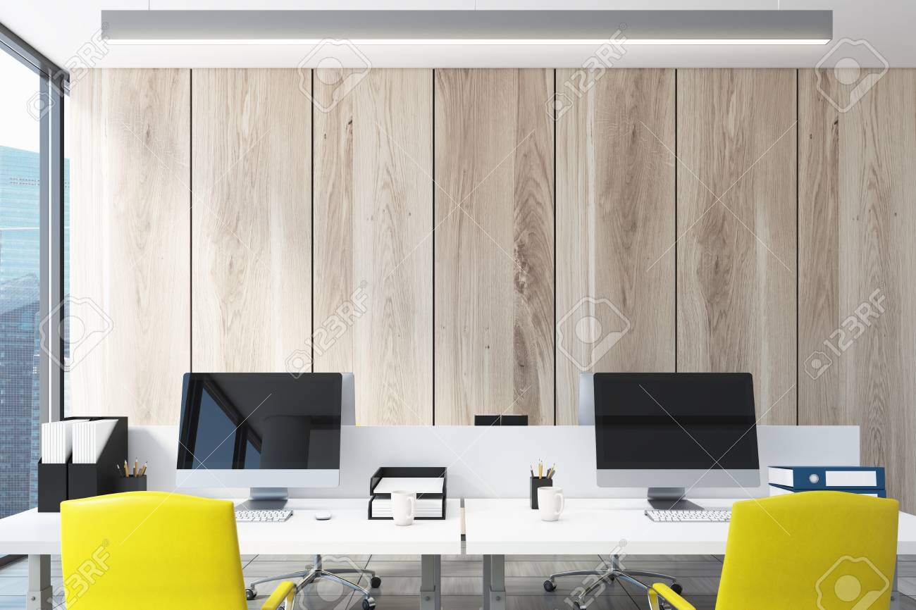 Light Wooden Wall Open Space Office Interior With A Large Window Stock Photo Picture And Royalty Free Image Image 83413462