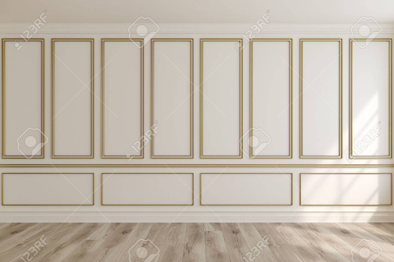 Empty luxury room interior with white walls frame like decoration elements on them and a & Empty Luxury Room Interior With White Walls Frame Like Decoration ...