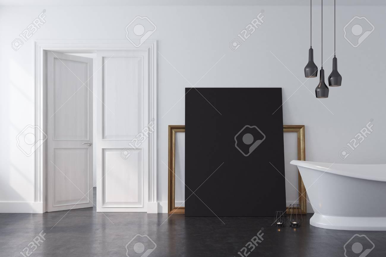 Interieur De Salle De Bain Vintage Avec Une Baignoire Blanche Et Un