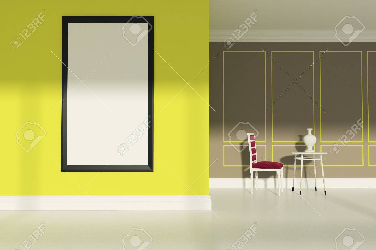 Living Room With Beige And Yellow Walls, A White Floor, A Red ...