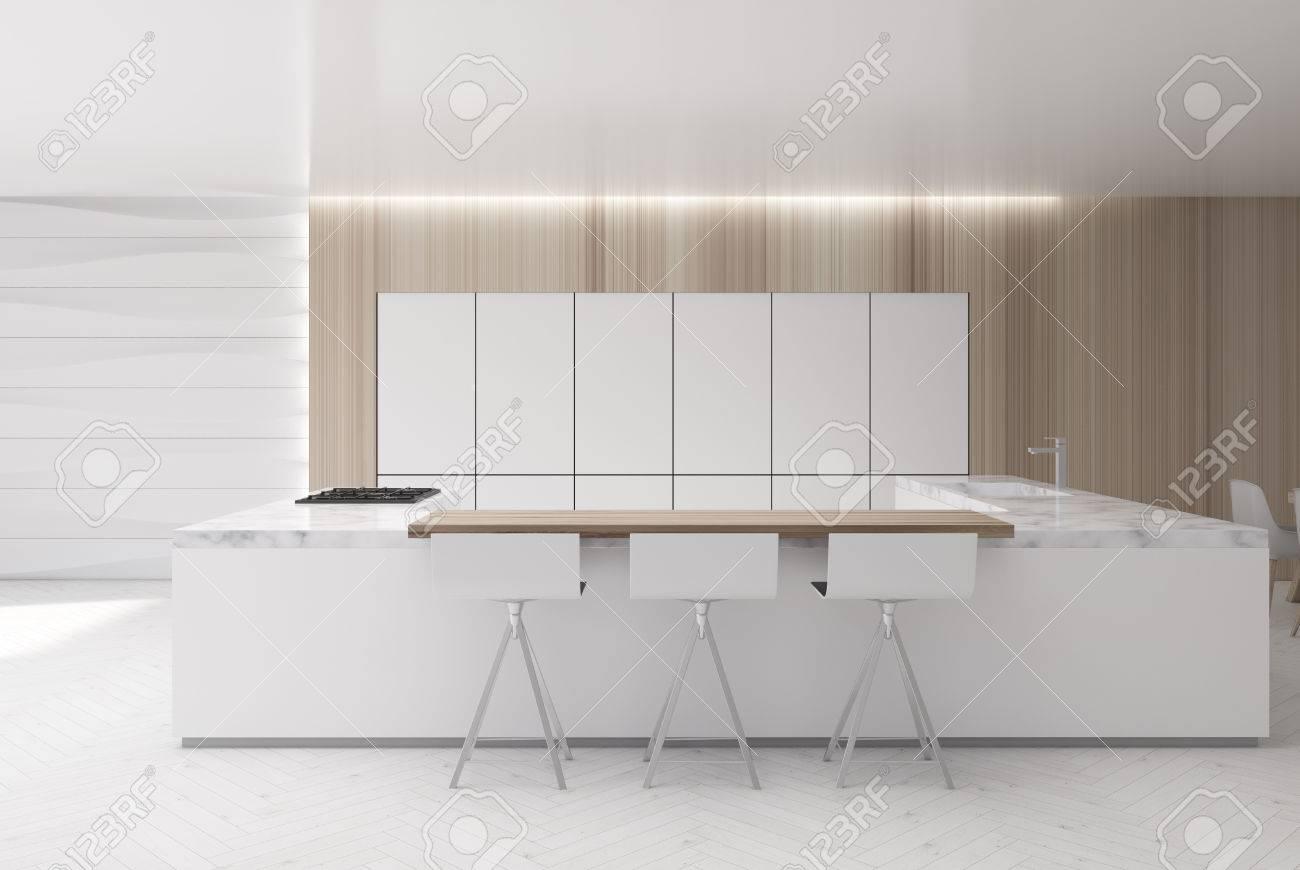 Deco Cuisine Blanche Et Bois white and wooden kitchen interior with a wavy decoration element,..