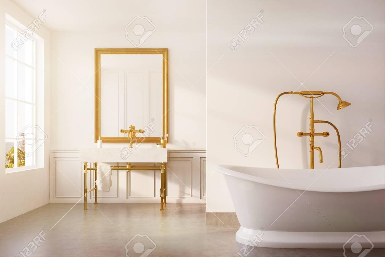 Intérieur de salle de bain vintage avec une baignoire blanche, une douche  en or, un lavabo et un mur blanc. Concept de luxe et de richesse. Rendu 3D  ...