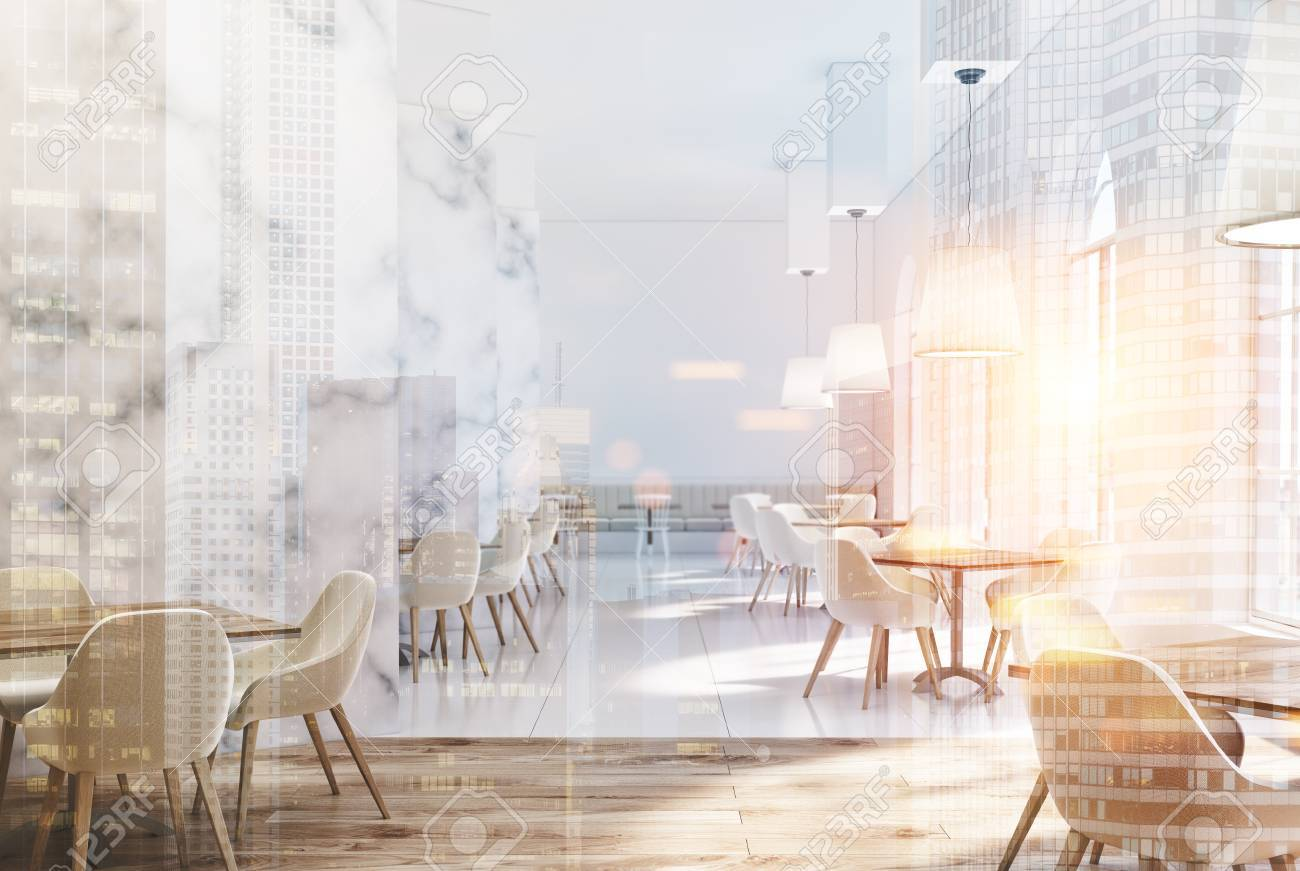 marble cafe interior with white walls large windows beige sofas and chairs and square - Marble Cafe Decoration