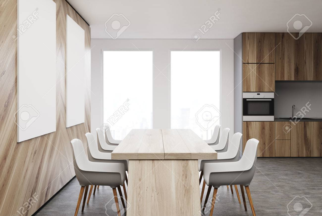 Interieur De Cuisine Moderne Avec Une Table Blanche Avec Des
