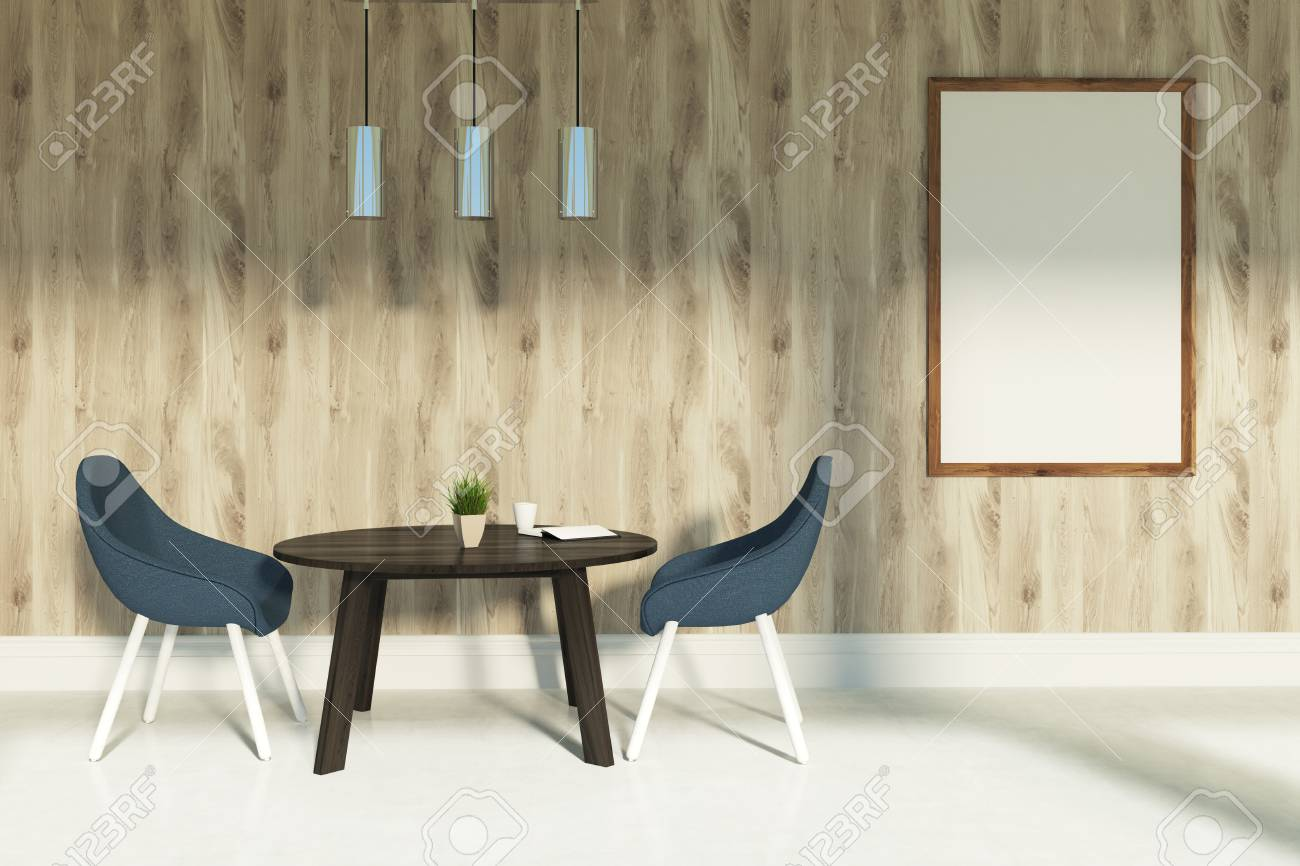 Dining Room Interior With Two Black Chairs Standing Near A Brown ...