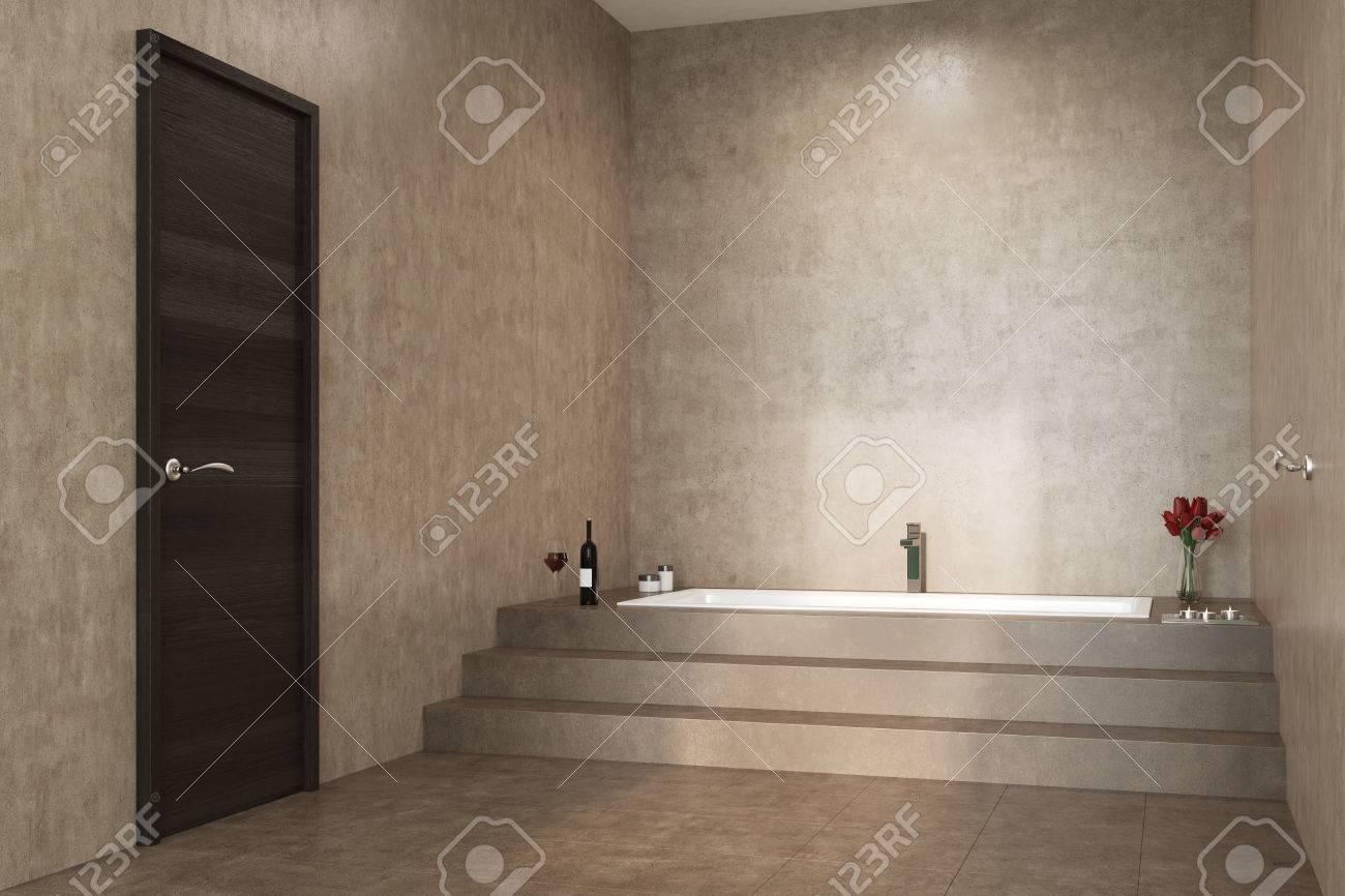Interior Concreto Del Cuarto De Baño Con Las Escaleras Que Llevan A ...