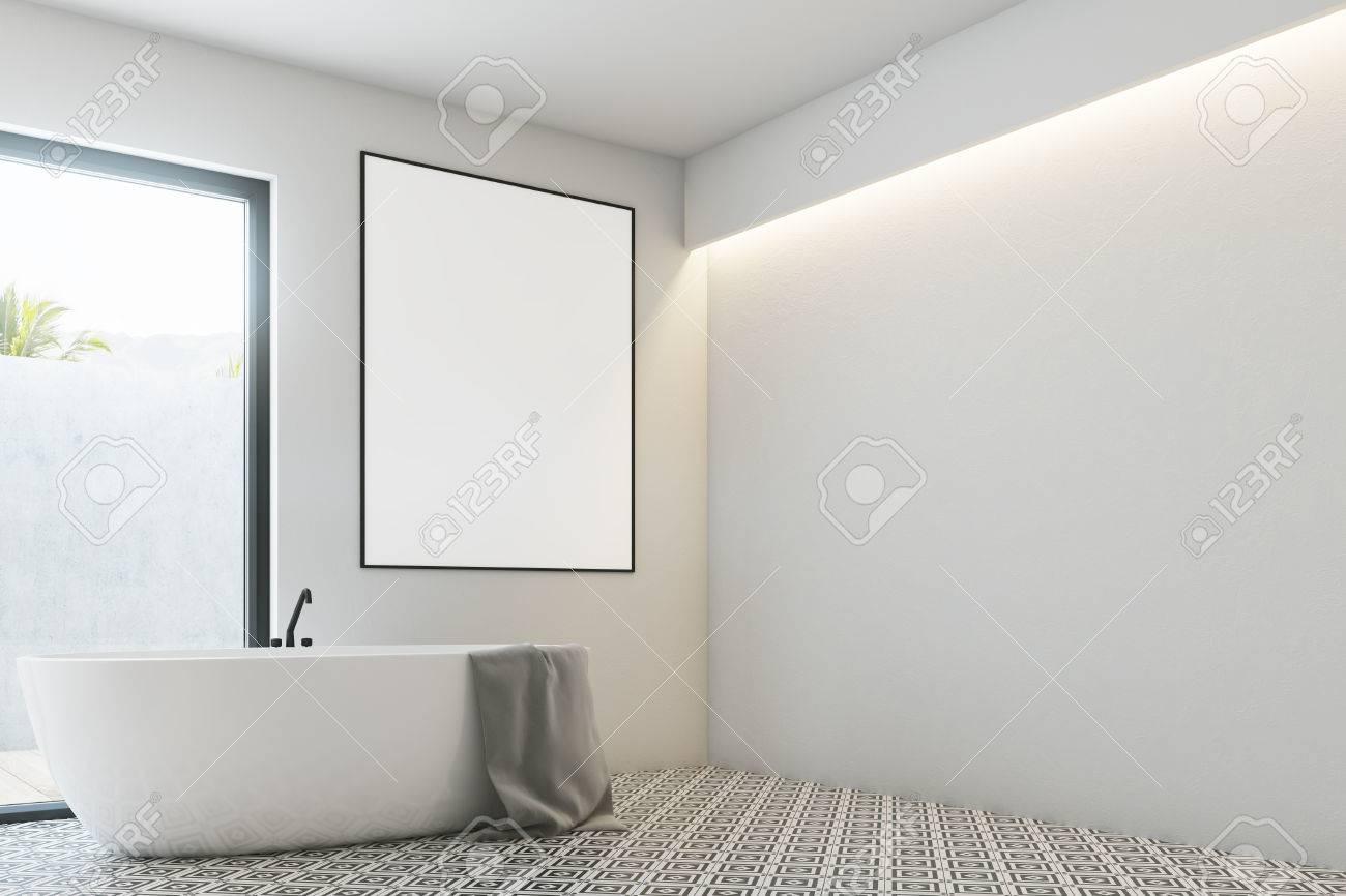 White Bathroom Interior With A Tiled Floor, A Framed Vertical ...